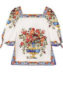 Хлопковая блуза с принтом и рукавами ассиметричного кроя Dolce & Gabbana