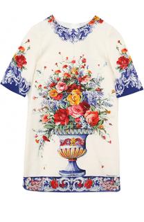 Шелковое платье прямого кроя с принтом Dolce & Gabbana