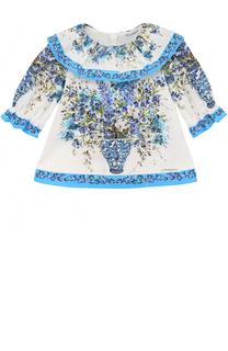 Хлопковая блуза свободного кроя с принтом и оборкой Dolce & Gabbana