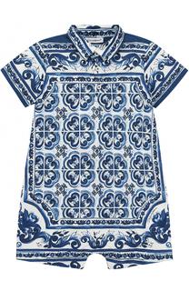 Хлопковый песочник с принтом Dolce & Gabbana