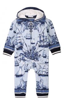 Хлопковый комбинезон с принтом и эластичными манжетами Dolce & Gabbana