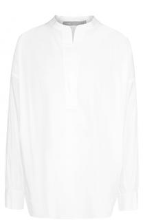Хлопковая блуза с воротником-стойкой Vince