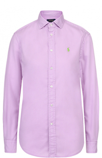 Блуза прямого кроя с вышитым логотипом бренда Polo Ralph Lauren