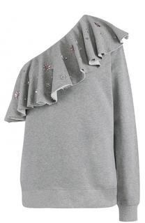 Свитшот с открытым плечом и декорированной оборкой MSGM