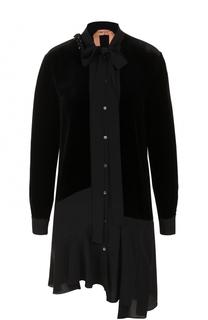 Платье-рубашка асимметричного кроя с воротником аскот No. 21