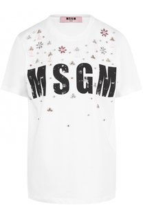 Футболка с логотипом бренда и декоративной отделкой MSGM