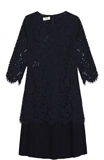 Кружевное мини-платье с плиссированной оборкой Weill