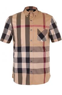 Хлопковая рубашка в клетку с короткими рукавами Burberry