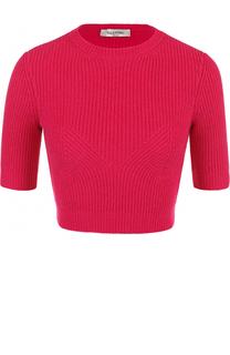 Кашемировый кроп-топ фактурной вязки Valentino