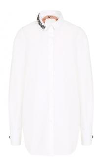 Хлопковая блуза с декорированным воротником No. 21