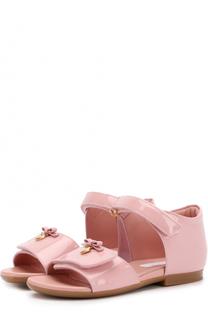 Лаковые босоножки с застежками велькро с бантом Dolce & Gabbana