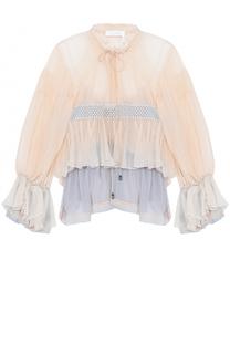 Укороченная шелковая блуза с оборками Chloé