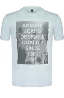 Хлопковая футболка с принтом Armani Jeans