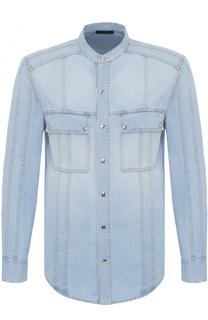 Джинсовая рубашка на кнопках с воротником-стойкой Balmain