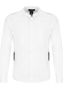 Хлопковая рубашка с воротником-стойкой Stone Island