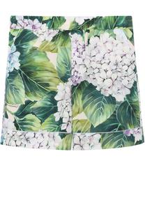Хлопковые шорты с цветочным принтом Dolce & Gabbana
