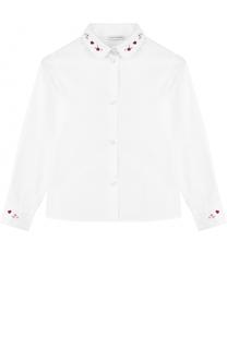 Хлопковая блуза прямого кроя с вышивкой Dolce & Gabbana
