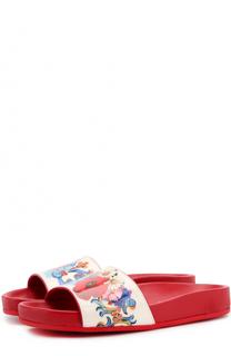 Кожаные шлепанцы с принтом Dolce & Gabbana