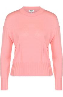 Шелковый приталенный пуловер с круглым вырезом Kenzo