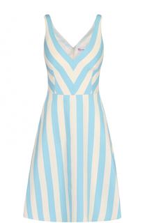 Мини-платье в полоску с V-образным вырезом REDVALENTINO
