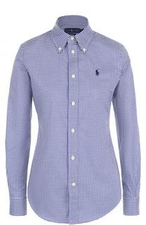 Хлопковая приталенная блуза в клетку Polo Ralph Lauren