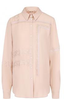 Блуза прямого кроя с кружевной отделкой No. 21