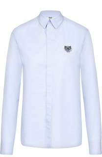 Блуза прямого кроя с вышитым логотипом бренда Kenzo