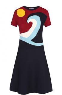 Приталенное мини-платье с вязаным лифом REDVALENTINO
