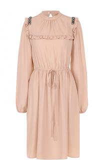 Приталенное платье-миди с оборками No. 21