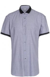 Хлопковая рубашка с короткими рукавами Brioni