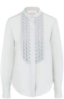 Шелковая блуза с кружевной отделкой Chloé