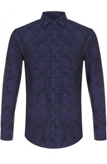 Хлопковая рубашка с принтом Armani Collezioni