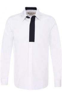 Хлопковая рубашка с контрастной отделкой Marni