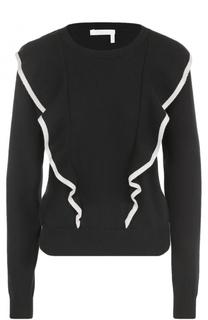 Кашемировый пуловер с круглым вырезом и оборками Chloé