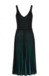 Плиссированное платье-миди с поясом Kenzo