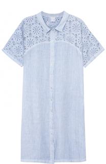 Льняное платье-рубашка с кружевной вставкой 120% Lino