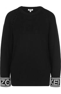 Хлопковый пуловер с перфорацией и круглым вырезом Kenzo