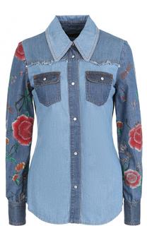 Джинсовая приталенная блуза с декорированными рукавами Roberto Cavalli