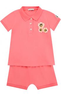 Хлопковый комплект из футболки и шорт с аппликациями Moncler Enfant