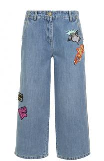 Укороченные джинсы с потертостями и нашивками Kenzo