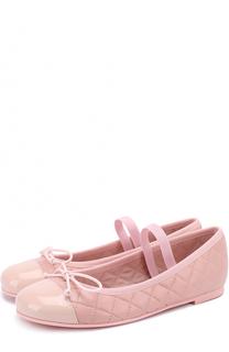 Кожаные балетки с лаковой отделкой и декором Pretty Ballerinas