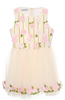 Приталенное мини-платье с цветочной вышивкой и аппликациями I Pinco Pallino