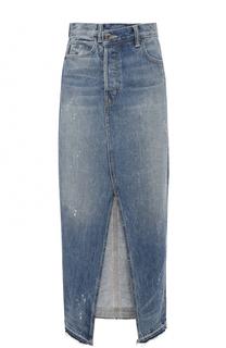 Джинсовая юбка с потертостями и разрезом Helmut Lang