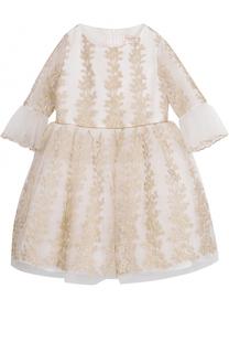 Платье-миди с металлизированной вышивкой и оборками David Charles
