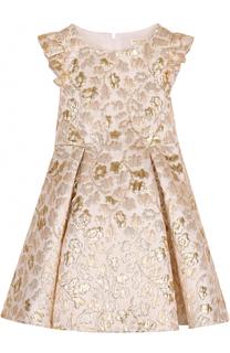Платье-миди с металлизированной цветочной отделкой и оборками David Charles