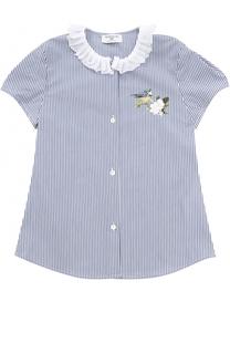 Хлопковая блуза с аппликациями и оборкой Monnalisa