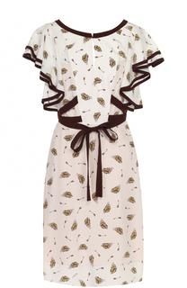 Шелковое платье с оборками и принтом Dorothee Schumacher