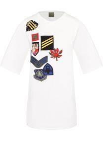 Удлиненная хлопковая футболка с нашивками Mr&Mrs Italy