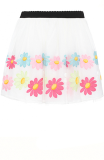 Многослойная юбка с вышивкой и контрастным поясом Monnalisa