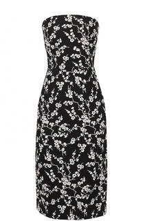 Приталенное платье-бюстье с цветочной отделкой Tara Jarmon